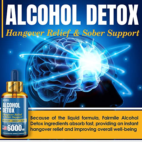 Advanced Liver Detox Hangover Cure with AlcoGene 6000MG – Great Hangover Prevention – Made in USA – Liver Cleanse Alcohol Detox – Liquid Formula with Better Absorption Than Hangover Pills
