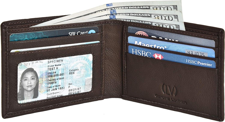 Genuine Leather RFID Blocking Handmade Bifold Wallet for Men - Slim Mens Wallet