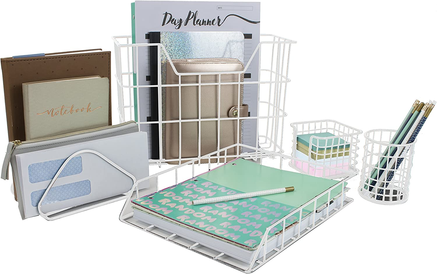 Sorbus Desk Organizer Set, 47-Piece Desk Accessories Set Includes Pencil Cup  Holder, Letter Sorter, Letter Tray, Hanging File Organizer, and Sticky