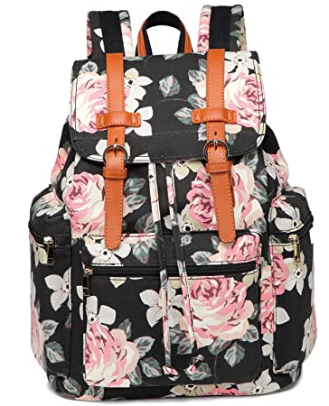 1c9b31a7cb5e Amazon.com  Girls School Backpack Women College Bookbag Lady Travel Rucksack  15.6Inch Laptop Bag (Black floral)  SUPON