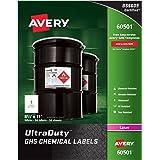 "Avery UltraDuty GHS Chemical Labels for Laser Printers, Waterproof, UV Resistant, 8.5"" x 11"", 50 Pack (60501)"