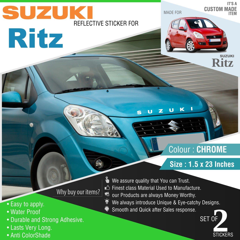 Carmetics suzuki sticker for maruti ritz chrome vinyl stickers for front and rear amazon in car motorbike
