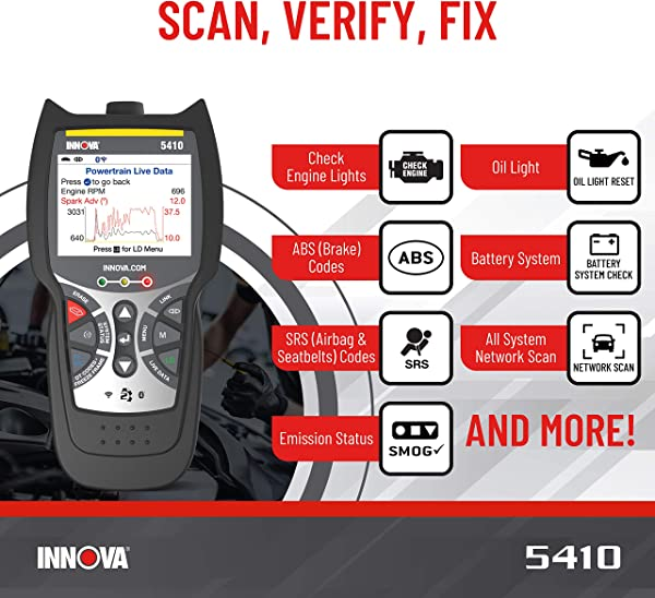 Innova CarScan Pro 5410 can check for trouble codes from the engine, powertrain, SRS, and ABS.