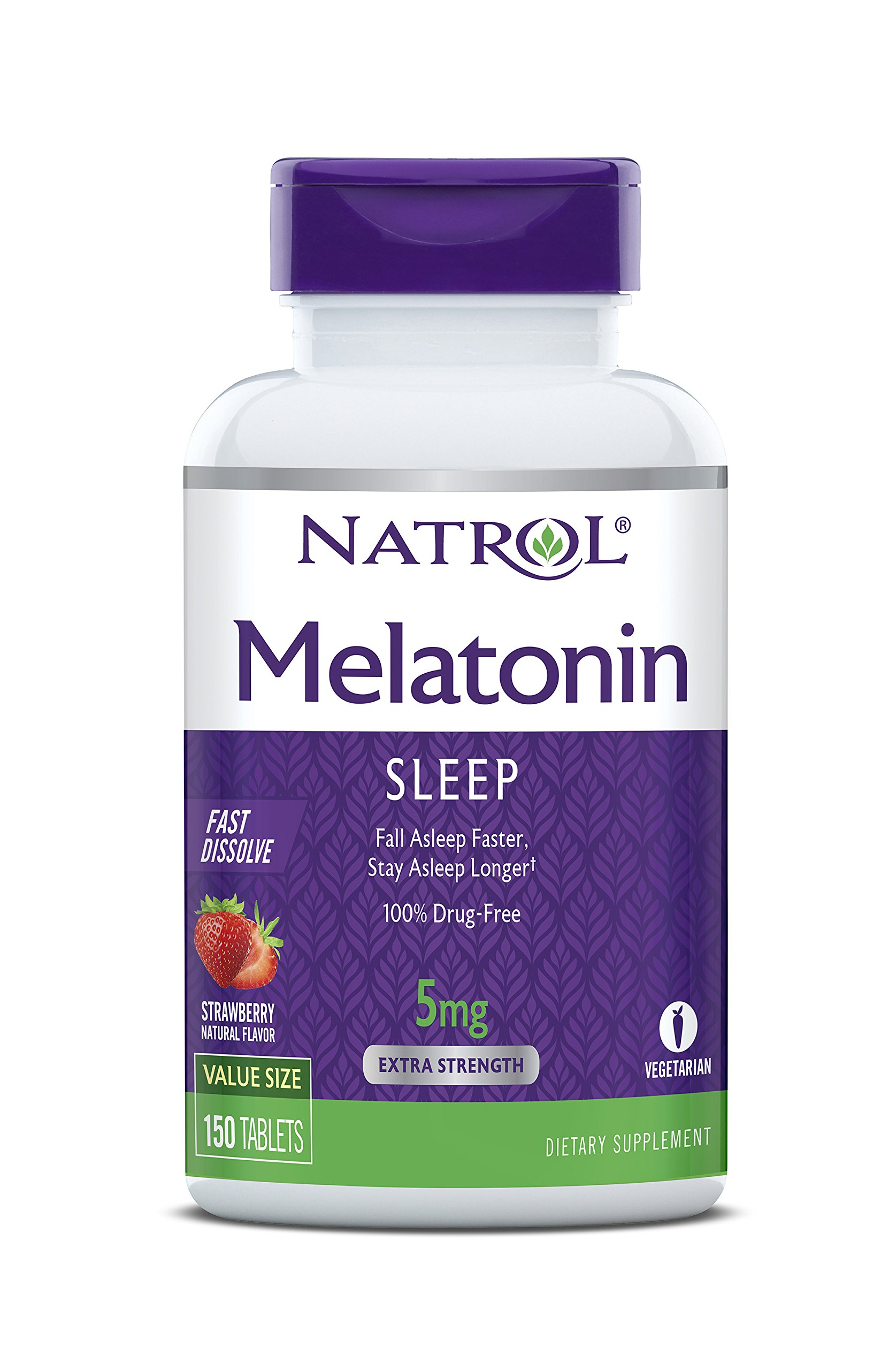 Natrol Melatonin Fast Dissolve Tablets, Strawberry flavor, 5mg, 150 Count