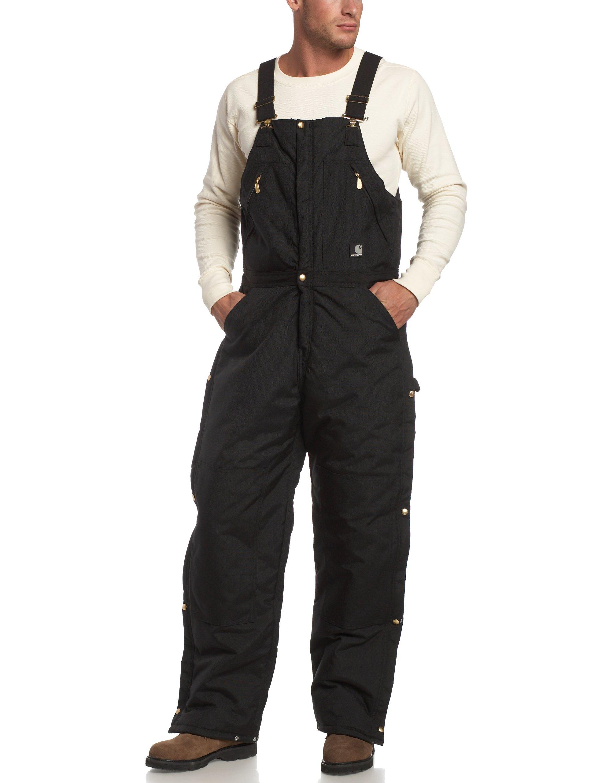 Carhartt Men's Yukon Arctic Quilt Lined Zip to Waist Biberalls,Black,32 x 30