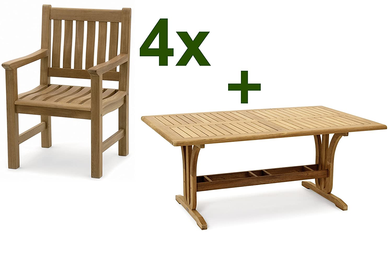 Amazon.de: Garvida Esstischgruppe Palazzo, Tischgruppe mit 4 Stühlen ...