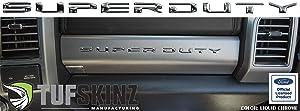 "TUFSKINZ |""Super Duty"" Glove Box Letter Inserts Fits 2017-Up Ford Super Duty - 10 Piece Kit (Liquid Chrome)"