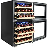 AKDY 45 Bottles Dual Zone Adjustable Touch Control Panel Freestanding Electric Compressor Wine Cooler Refrigerator