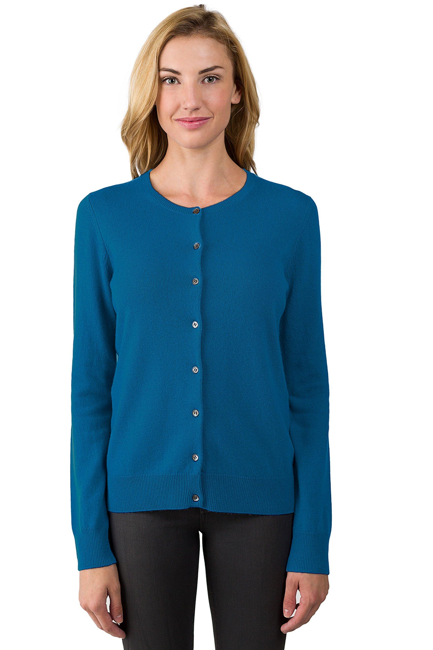JENNIE LIU Women's 100% Cashmere Button Front Long Sleeve Crewneck Cardigan Sweater (L, Peacock)