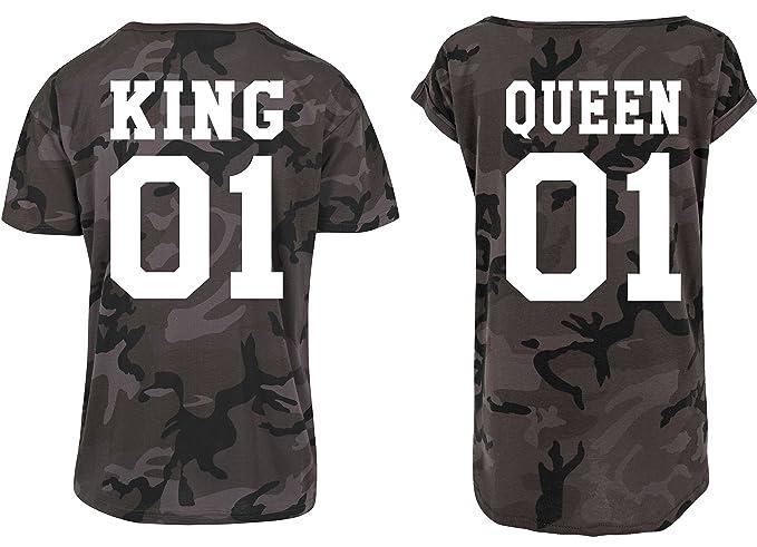 Urban Kingz Pareja 2X Camiseta Oversize Camouflage T-Shirt Modelo King & Queen para Hombre
