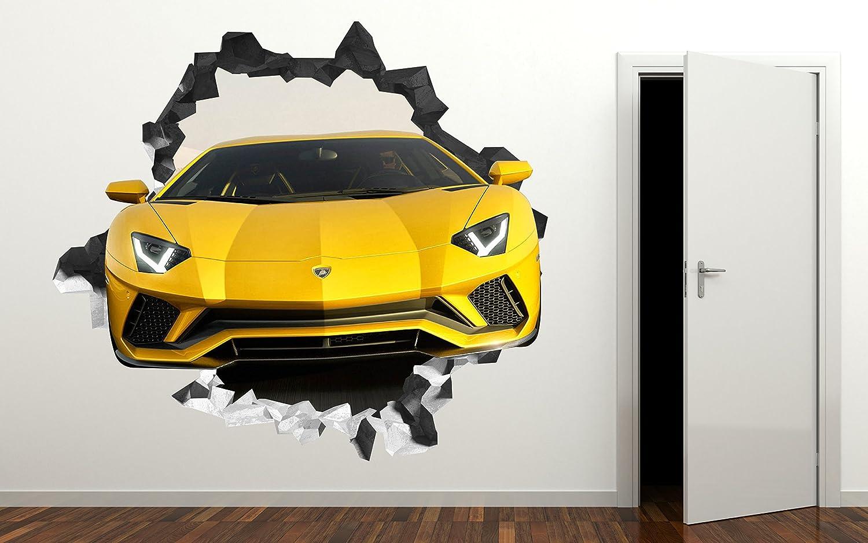 Amazon.com: Lamborghini 3D Wall Decal Smashed Sticker Vinyl Decor ...
