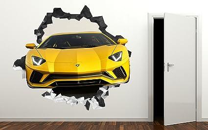 Amazon Com Lamborghini 3d Wall Decal Smashed Sticker Vinyl Decor
