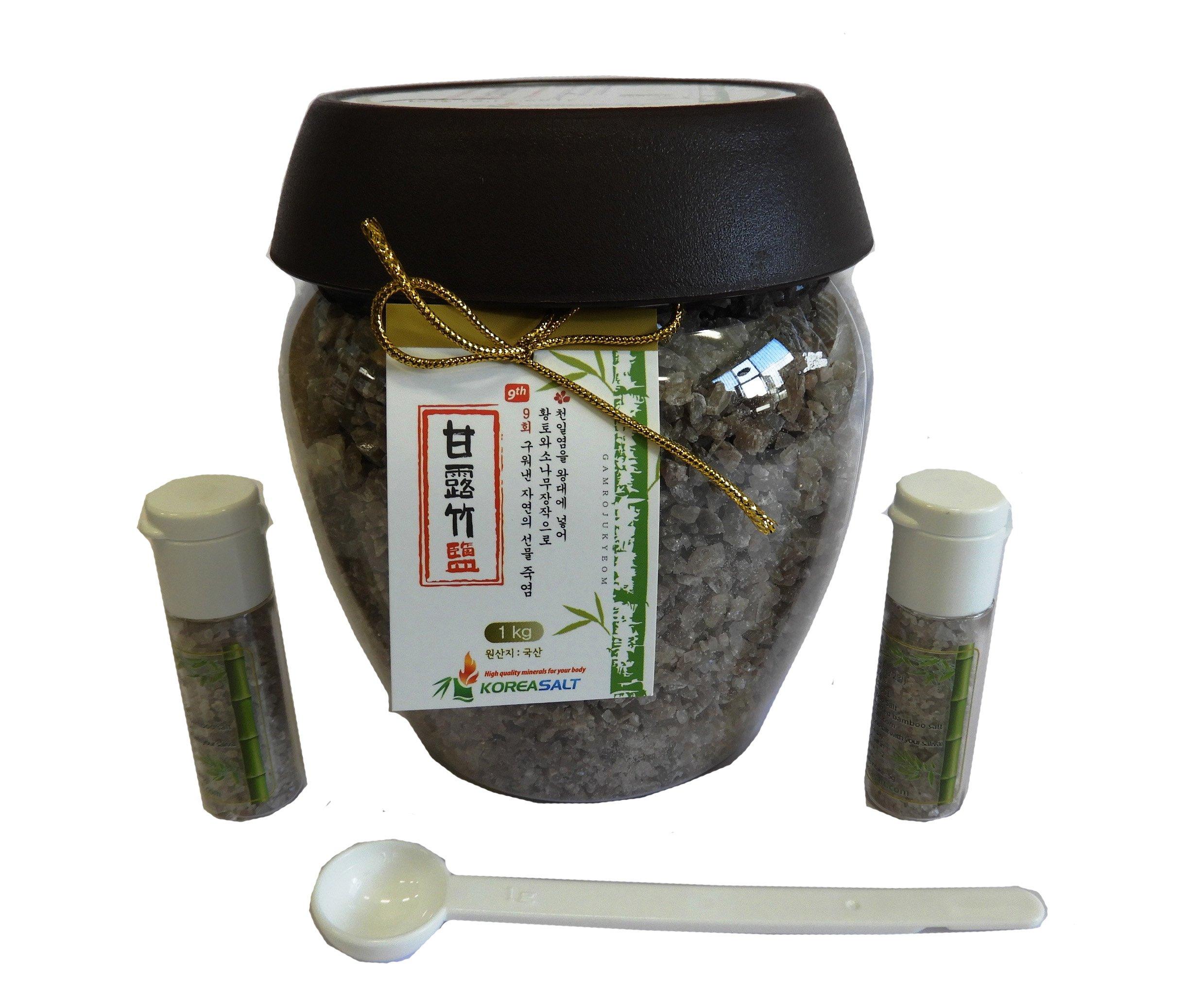 Original Korea Bamboo Salt Crystal 9-Times Roasted 1 Kg (2.2 lbs) Rich Minerals