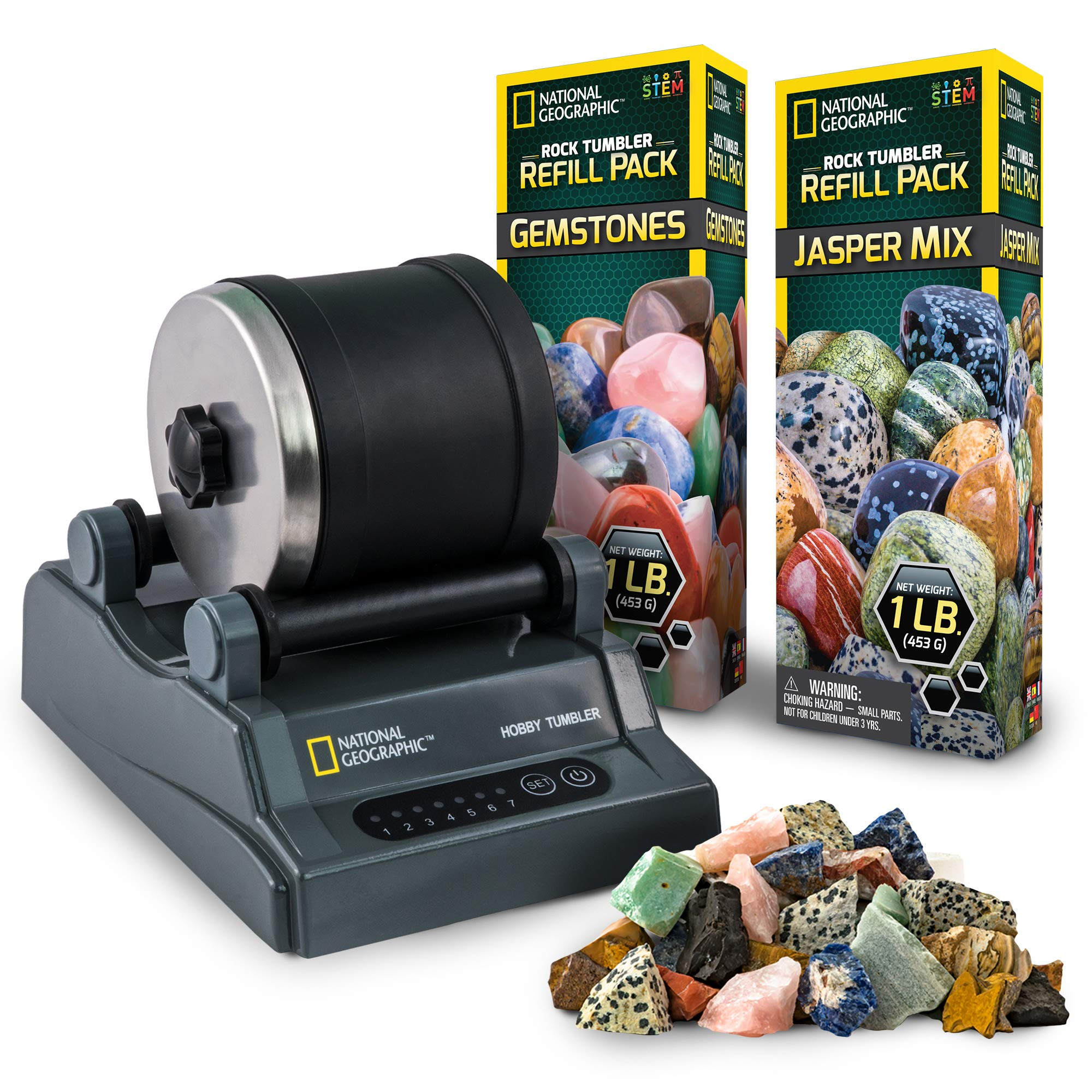 NATIONAL GEOGRAPHIC Hobby Rock Tumbler Kit with Two Bonus Rough Gemstone Refill Pack (Jasper Mix & Variety)