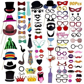 90 Pcs DIY Photo Booth, Comius Nuevo Estilo Photocall Atrezzo Favorecer Incluyendo cómica divertida creativa Bigotes Gafas Pelo Arcos Sombreros labios