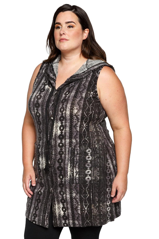 12ae14816603ec Hadari Women s Plus Size Sleeveless Hooded Boho Cardigan Sweater Vests at  Amazon Women s Clothing store