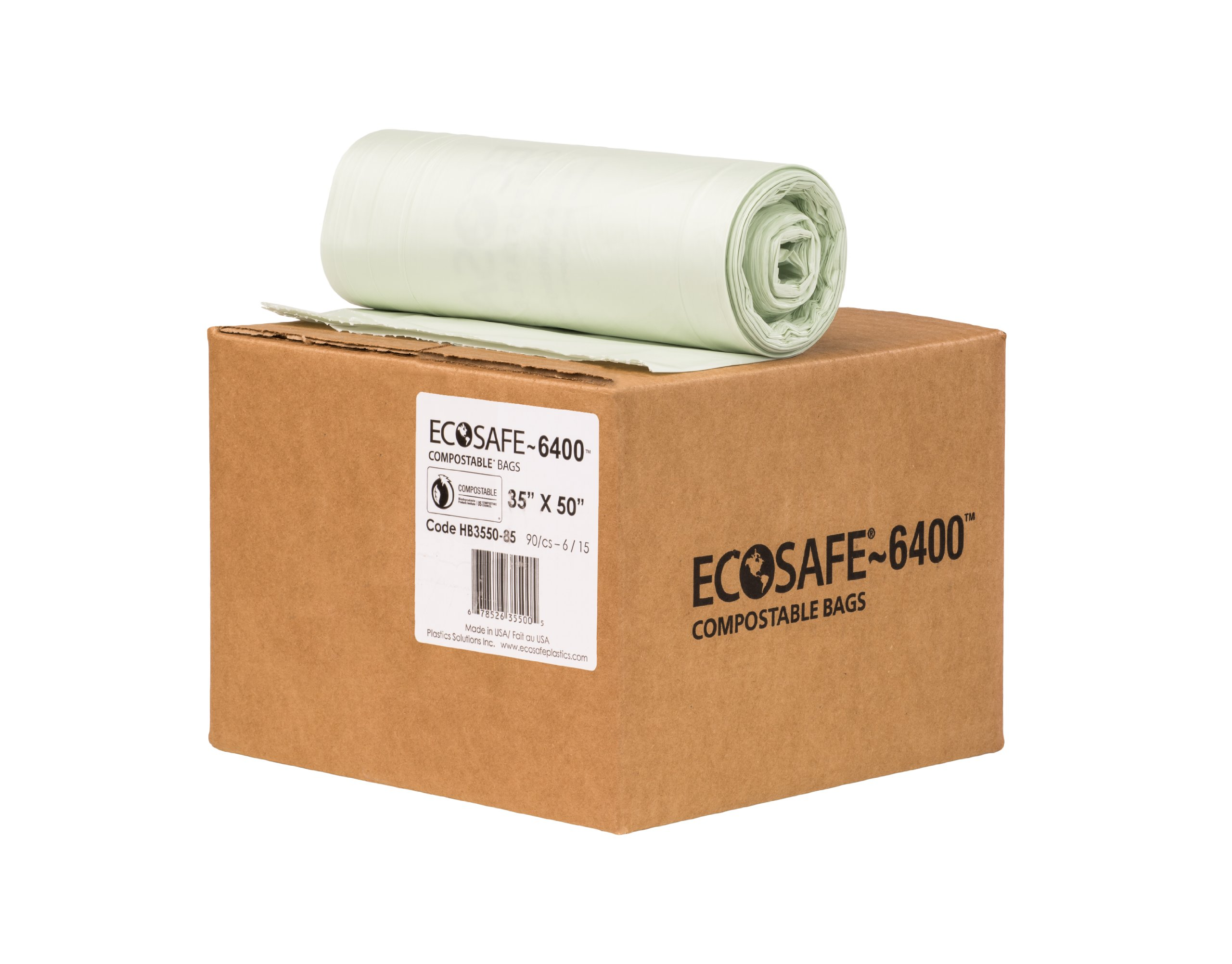 EcoSafe-6400 HB3550-85 Compostable Bag, Certified Compostable, 45-Gallon, Green (Pack of 90) by EcoSafe