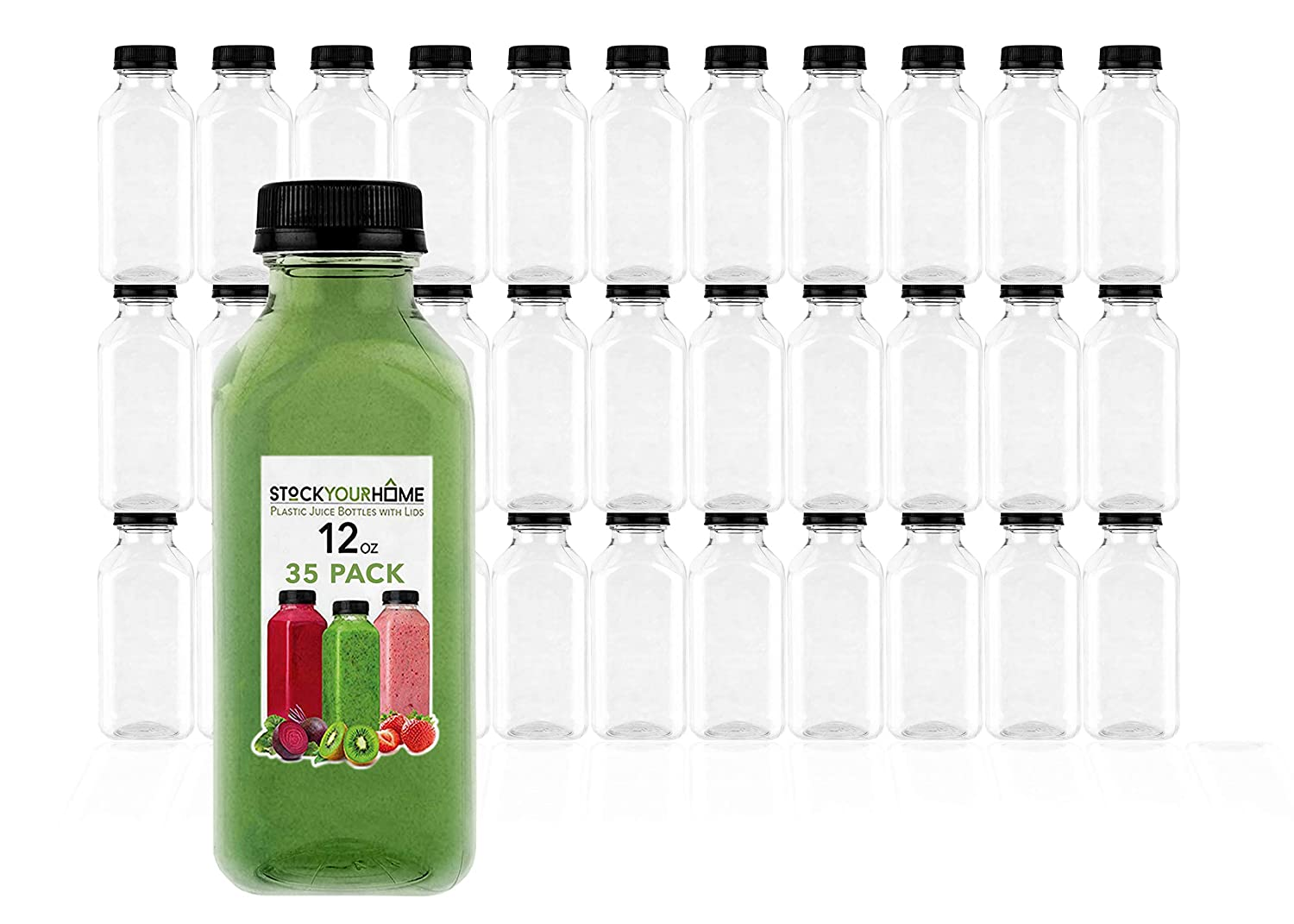 Plastic Juice Bottles with Lids, Juice Drink Containers with Caps for Juicing Smoothie Drinking Cold Beverages, 12 Oz, 35 Count