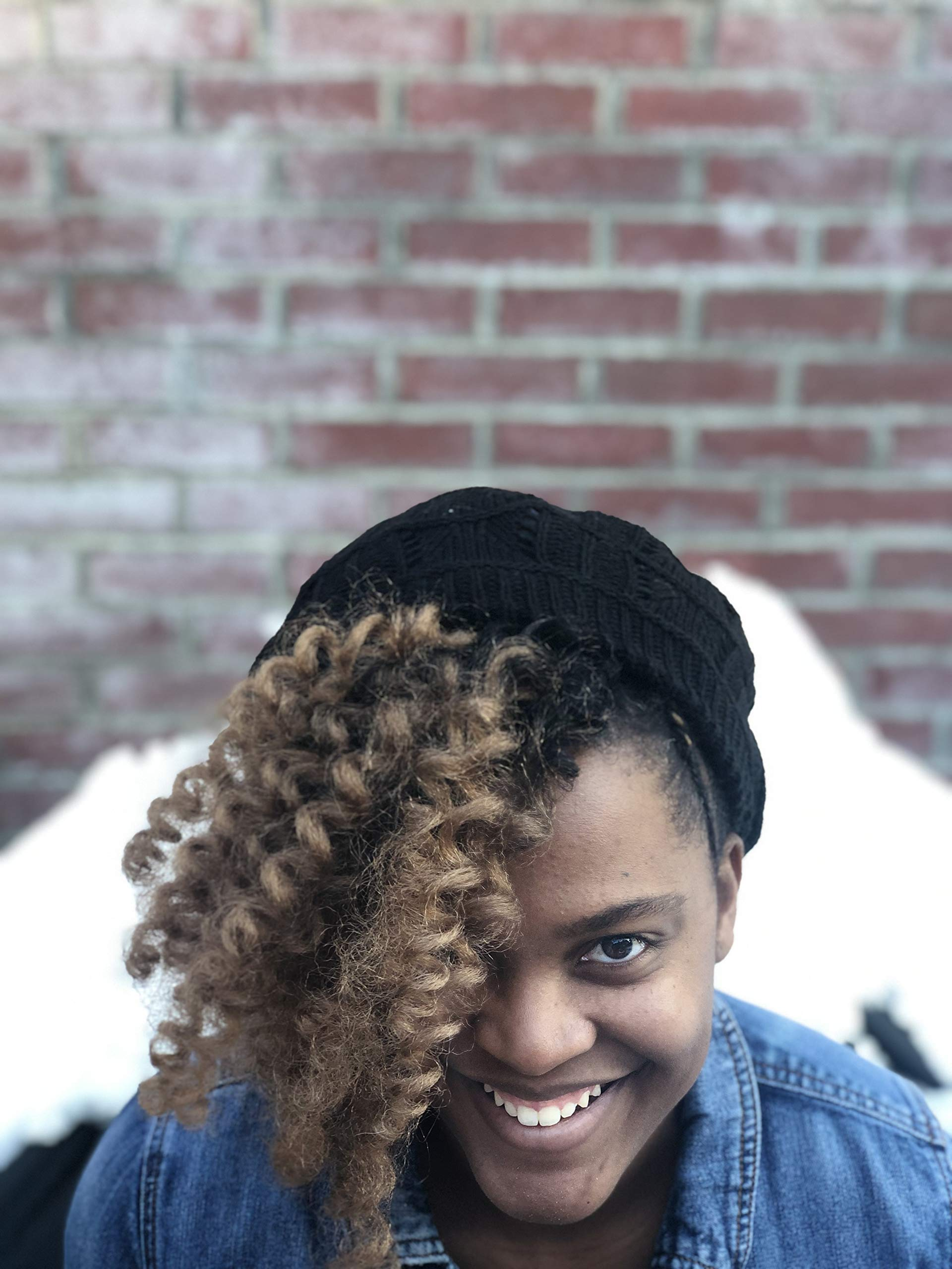 Satin Lined Beanie, Knit Beret Styled Hat for Natural Hair with a Slouchy fit Black