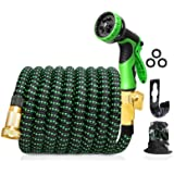 """Upgraded Expandable Garden Hose, 100 FT, 3/4"""" Solid Brass Connectors, 10 Function Spray Hose Nozzle, Leak Proof and Lightweig"""