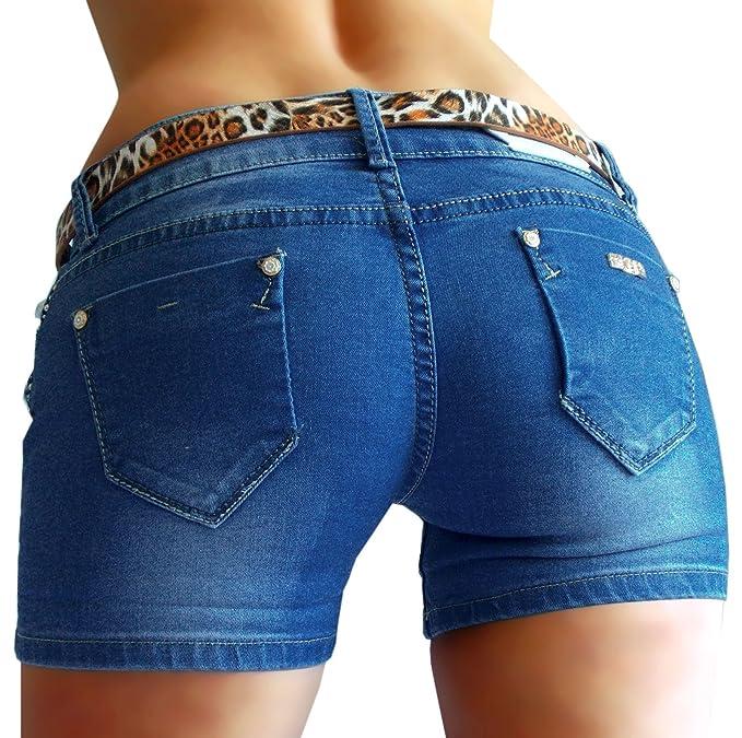 Kurze Hose Damen Shorts leuchtende Sommer Farben uni leichter Stoff Stretch neu