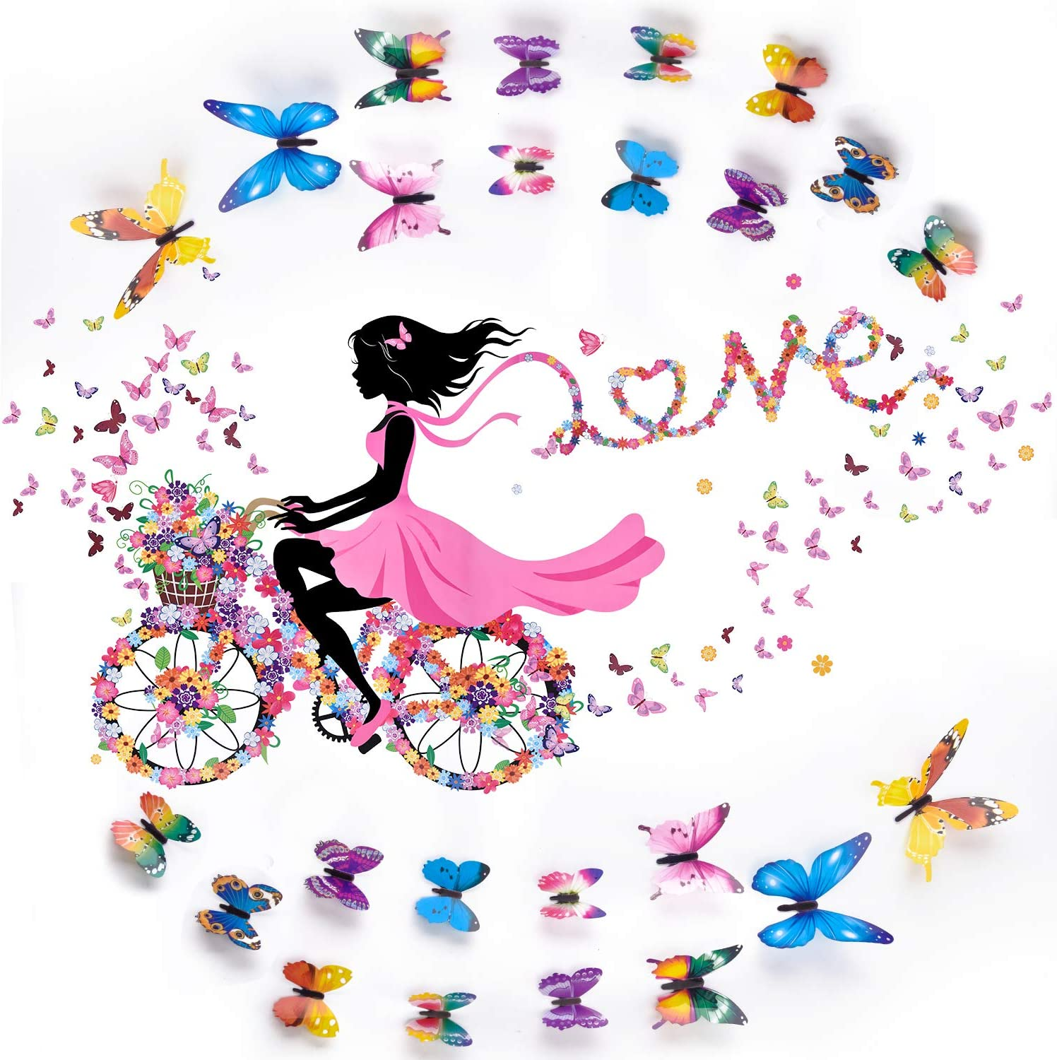25 Pieces 3D Butterfly Wall Decals and Girl Nursery Decoration Set Removable Flowers and Butterflies Waterproof Wall Art Stickers for Home Kids Room Bedroom Decor