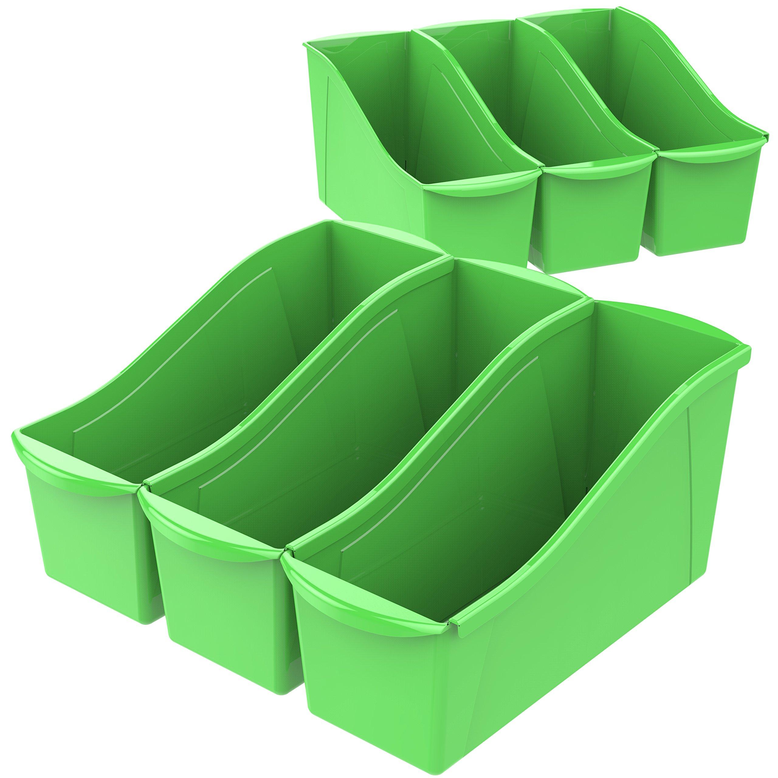 Storex Large Book Bin, 14.3 x 5.3 x 7 Inches, Green, Case of 6 (71118U06C) by Storex