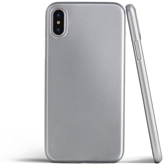 buy popular c1b0c 787ad totallee iPhone X Case, Thinnest Cover Premium Fit Ultra Thin Light Slim  Minimal Anti-Scratch Protective - for Apple iPhone X (2017) (Silver  Metallic)