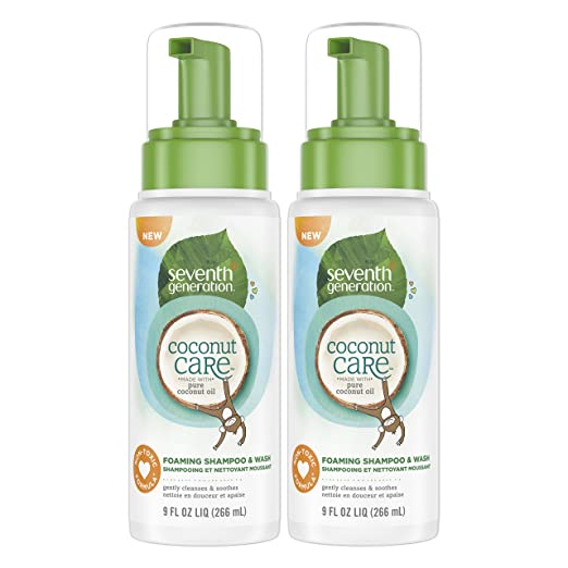 Seventh Generation Foaming Baby Shampoo & Wash with Nourishing Coconut Care, 9ounce , 2 Count