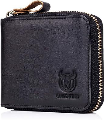RFID Premium Leather Men Passport Bifold Zip Around Wallet ID Credit Card Holder