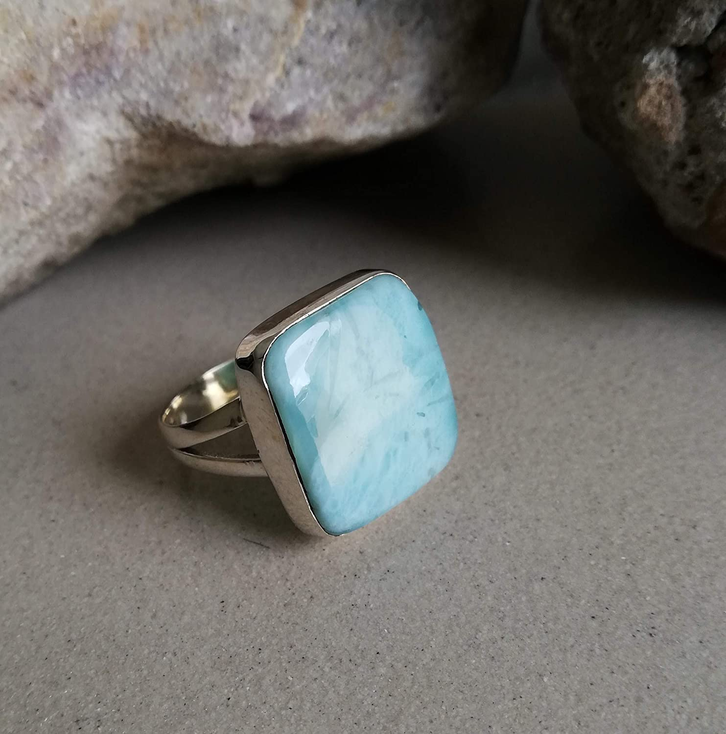 Larimar Ring 925 Sterling Silver Square Shape Ring Dominican Larimar Ring Caribbean Larimar Ring Dolphin Stone Ring Blue Larimar Ring Healing Crystal Victorian Ring Ultimate Ring US All Size
