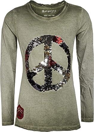 Blue Effect Peace 1172-5172 - Camiseta Reversible para niña, Color Verde Oliva Verde Oliva, Caqui. 14 años: Amazon.es: Ropa y accesorios