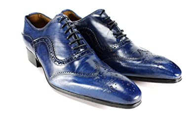 77051bc77 Ivan Troy Blue Classy Handmade Italian Leather Dress Shoes Oxford Shoes Men  Shoes