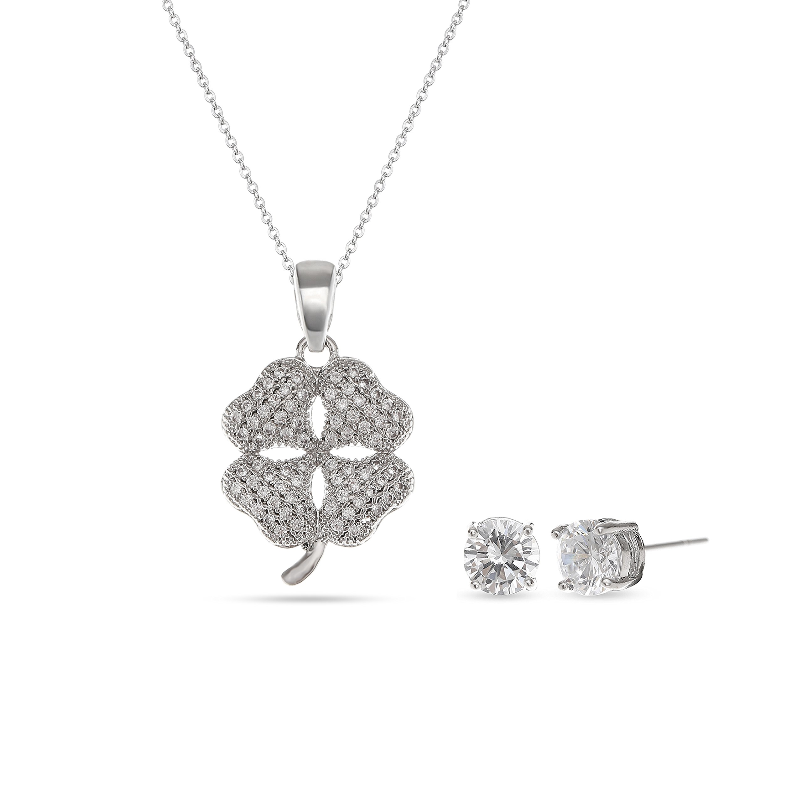 MYKEA 925Sterling Silver Four Leaf Clover Heart Crystal Pendant Necklace for Women Jewelry Set 17'' + 2'' Extender Valentine's Day
