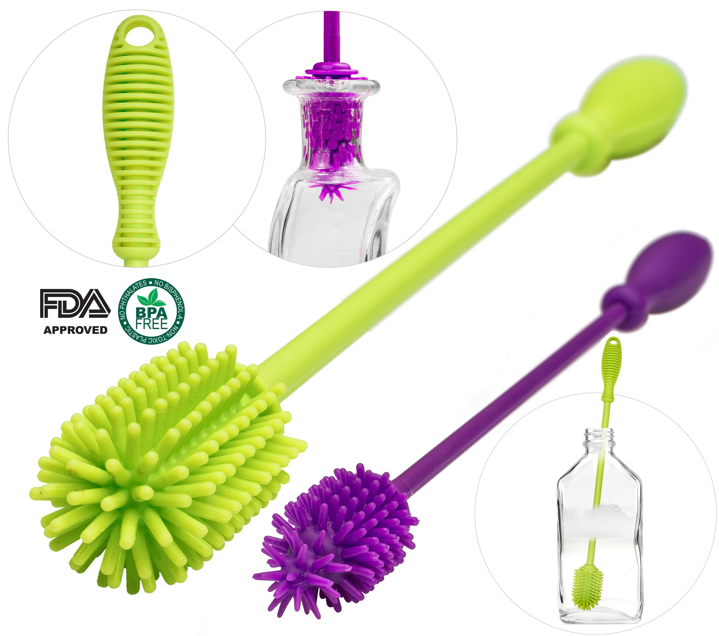 A-Brush 2 pcs Set Silicone Bottle Brushes BPA Free - Bottle Washer FDA Approved - Long Handle Antibacterial Baby Bottle & Nipple Brush Ideal for Glass & Plastic Water Bottles (Green/Purple Set of 2)
