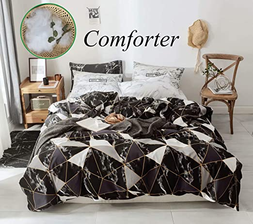 Marble Geometric Design Bedspread Coverlet Bed Cover Queen King Size Pillowcase