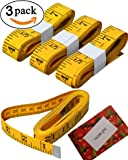 BSLINO 3pcs Tape Measure 300cm/120 Inch Double-scale Soft Tape Measuring Body Weight Loss Medical Body Measurement Sewing Tailor Cloth Ruler Dressmaker Flexible Ruler Tape Measure, HEAVY DUTY