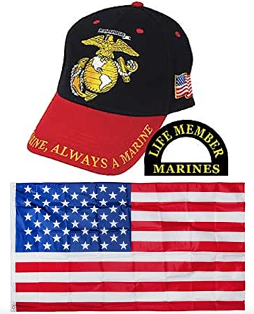 cb96c140cad Marines Marine USMC Red Black Once A Marine Always a Marine Embroidered Hat    USA Flag