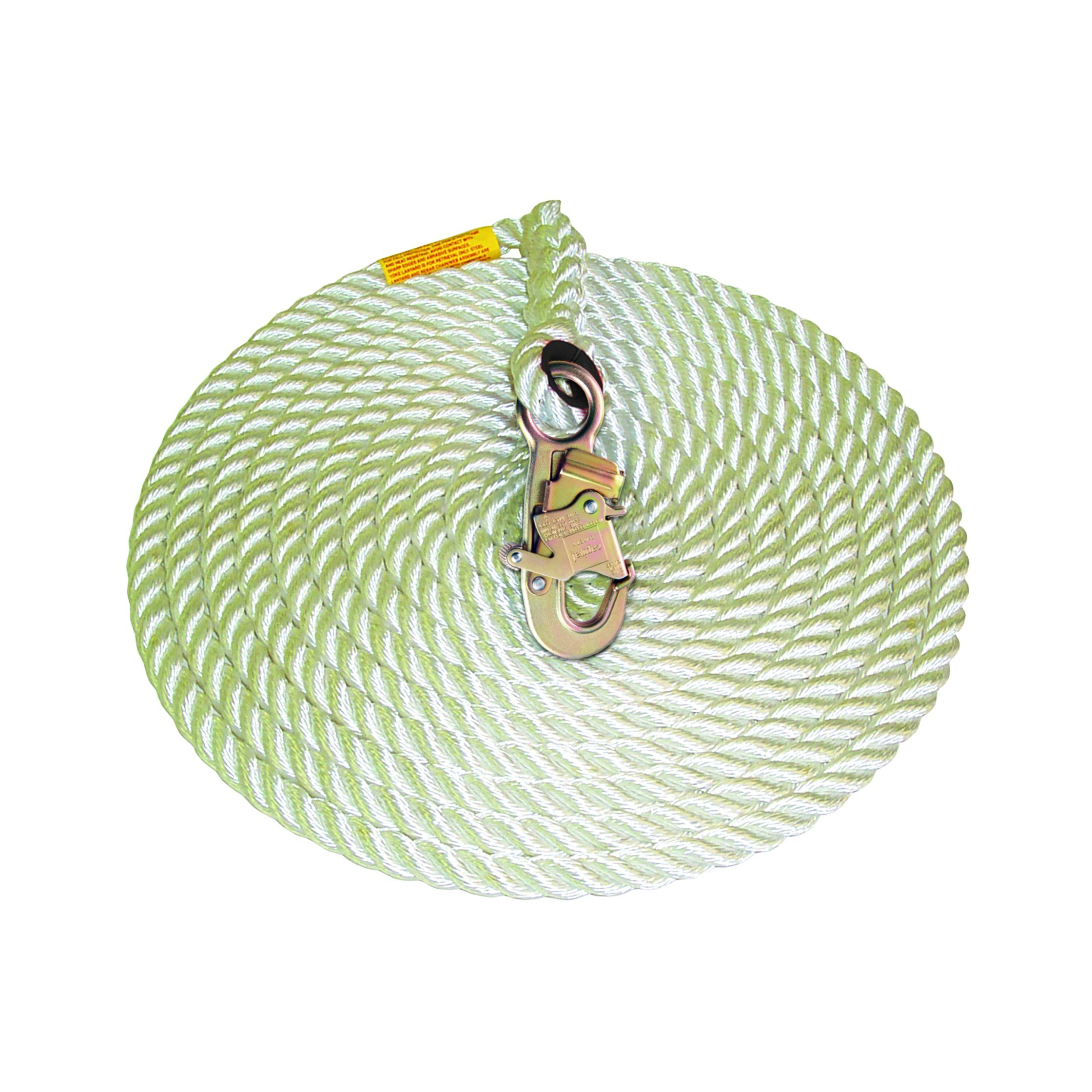 3M DBI-SALA 1202794 Vertical Systems, 5/8'' Polyester Polypropylene, 50' Rope Lifeline, with Snaphook, White with Orange Tracer