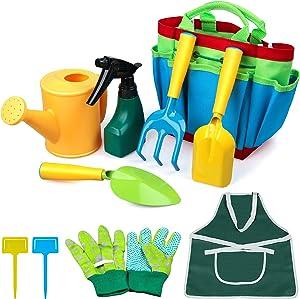 ZEIZRWK Kids Gardening Set - Kids Gardening Tool Set - Gardening Tools for Kids - Kids Gardening Tool -Kids Garden Set Garden Kit for boy and girl Include Watering Can,Rake,Shovel,Gloves,Apron,Sprayer