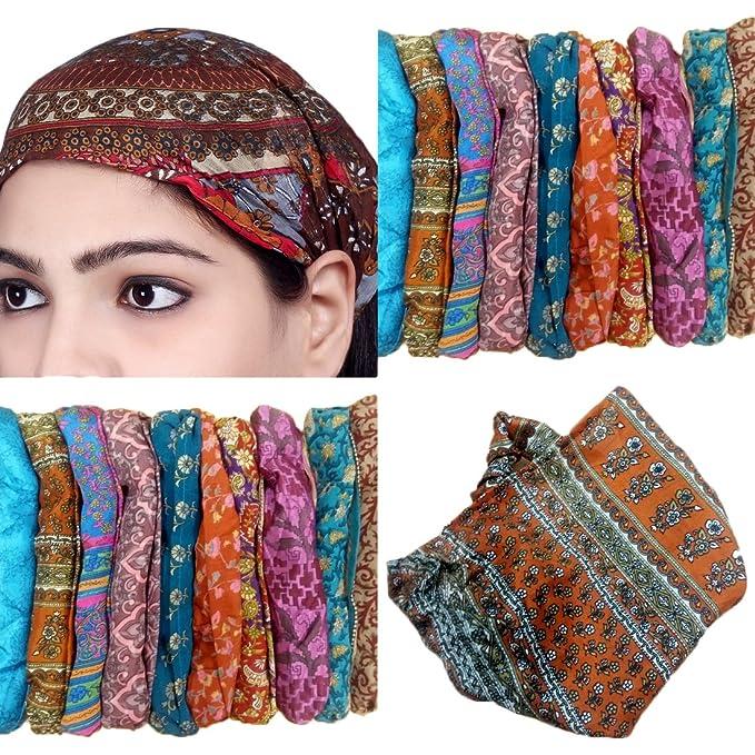 Sarjana Handicrafts Lot 10 Pieces Womens Mens Silk Headband Printed Hairband  Bandana Wrap Band (Multicolored 229fe1b71f1