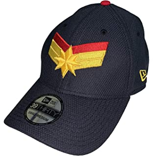 3775a112 New Era Captain Marvel Navy Scarlet 5950 Fitted Hat at Amazon Men's ...