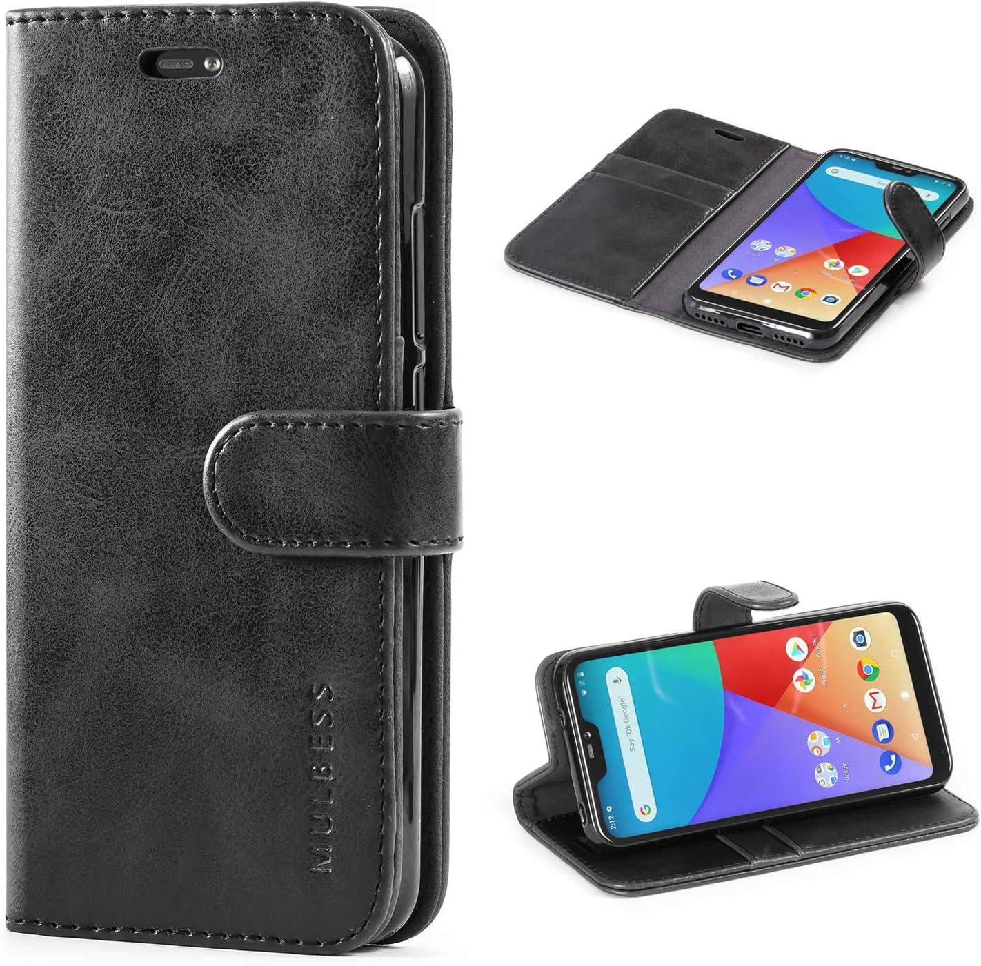 Mulbess Funda Xiaomi Mi A2 Lite [Libro Caso Cubierta] [Vintage de Billetera Cuero de la PU] con Tapa Magnética Carcasa para Xiaomi Mi A2 Lite Case, Negro