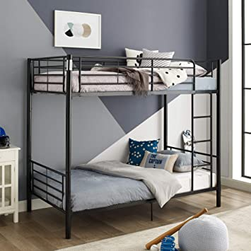 Walker Edison Furniture Company Modern Metal Pipe Twin Bunk Kids Bed  Bedroom Storage Guard Rail Ladder, Black