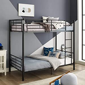 WE Furniture Modern Metal Pipe Twin Bunk Kids Bed