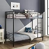 Walker Edison Elodie Urban Industrial Twin over Twin Metal Bunk Bed, Twin over Twin, Black