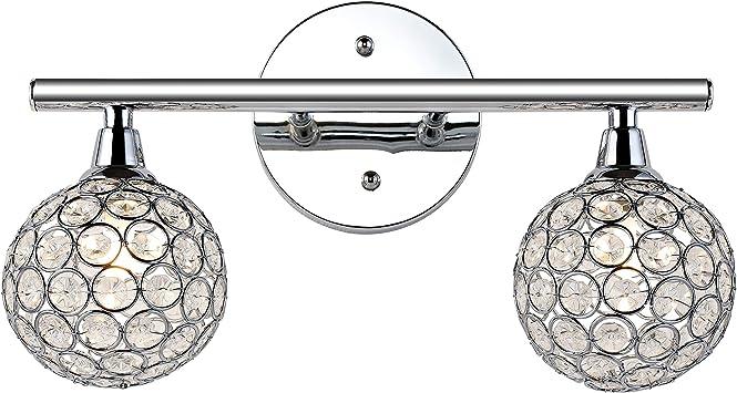 Amazon Com Jonathan Y Jyl7535a Maeve 13 2 Iron Glass Led Vanity Light Contemporary Designer Glam For Bedroom Bathroom Livingroom Office 2 Bulb Chrome Home Improvement