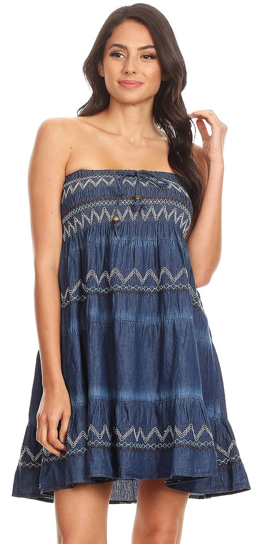 b5abef1ac4 Sakkas 17187 - Eva Womens Denim Strapless Tube Top Smock Short Sleeveless  Dress Chambray - Chambray-Multi - OS at Amazon Women s Clothing store