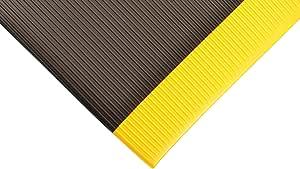 """NoTrax 406 Razorback Anti-Fatige Mat with Dyna-Shield PVC Sponge, 2' Width x 3' Length x 1/2"""" Thickness, Black/Yellow"""