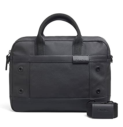 Calvin Klein Men's Ezra Canvas Laptop Travel Messenger Bag